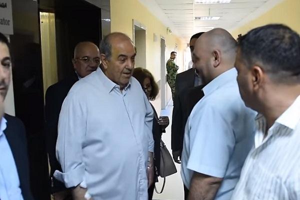 علاوي مغادرًا مستشفى ابن سينا في بغداد اليوم