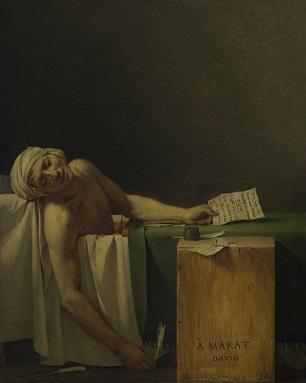 موت مارا، 1793. جاك لوي دافيد.