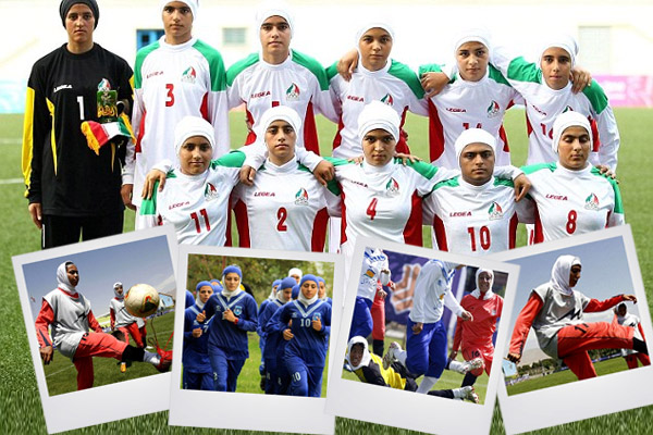 ثمانية رجال يلعبون ضمن منتخب ايران النسوي لكرة القدم