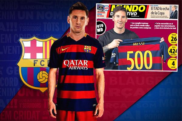 ميسي سيخوض المباراة رقم 500 بقميص برشلونة قبل انقضاء عام 2015
