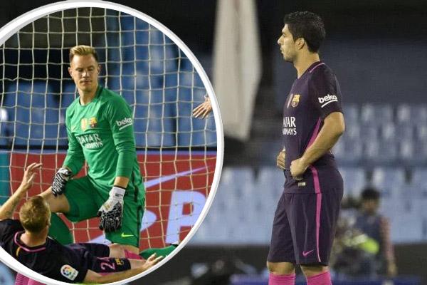 أظهرت صور تلفزيونية سخط واستياء اللاعب الدولي الأوروغوياني لويس سواريز من حارس مرمى فريقه برشلونة الإسباني
