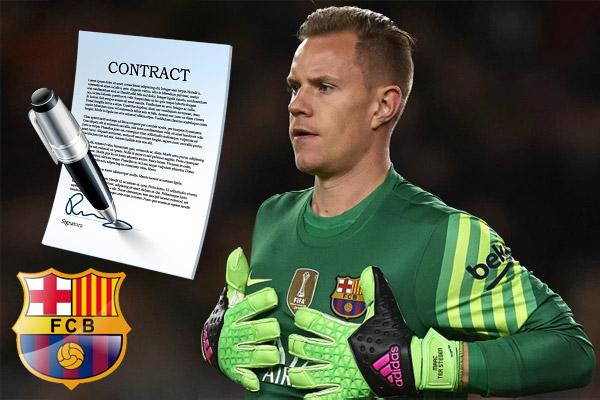 مسؤولي برشلونة يستعدون لخطوة غير متوقعة تتمثل بتمديد عقد الحارس الألماني الشاب تير شتيغن