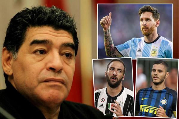 يرى مارادونا أنّ خط هجوم منتخب بلاده يتأثر كثيراً بغياب ميسي كما جدّد مهاجمته لايكاردي و هيغوايين