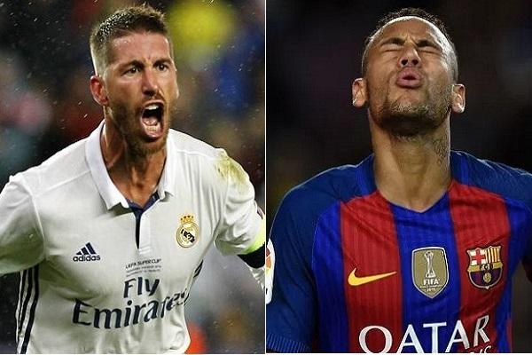 يواجه راموس مدافع ريال مدريد والبرازيلي نيمار مهاجم برشلونة خطر الغياب عن مباراة
