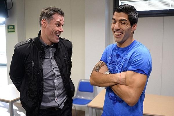 النجم الأوروغوائي لويس سواريز رفقة زميله السابق في ليفربول جيمي كاراجر