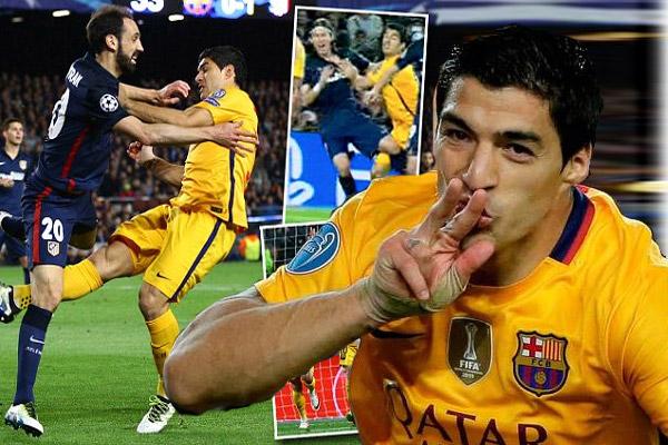 لويس سواريز ينجو من الطرد مرتين أمام أتلتيكو مدريد