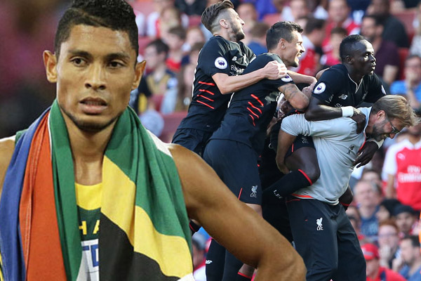 عبر العداء الجنوب افريقي وايد فان نيكريك عن سعادته بفوز فوز فريقه المفضل ليفربول على آرسنال