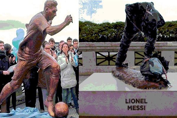 مجهولون يحطمون تمثال ليونيل ميسي في بيونس أيرس