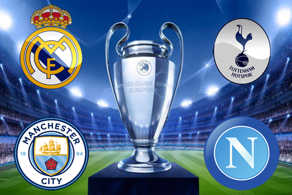 يخوض كل من ريال مدريد ومانشستر سيتي اختبارين صعبين على ارضهما عندما يستقبلان توتنهام ونابولي تواليا