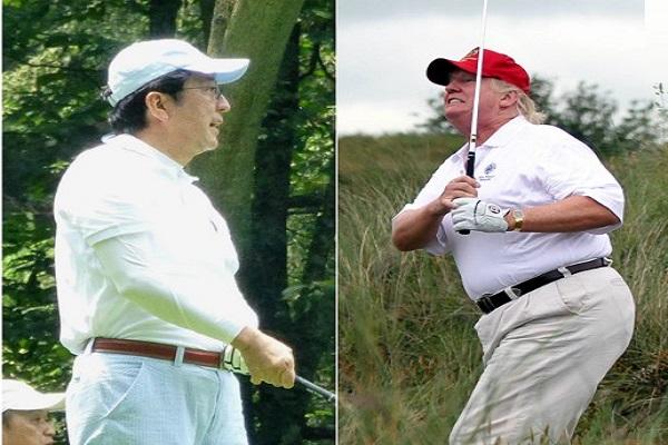 آبي وترامب يمارسان هوايتهما في رياضة الغولف