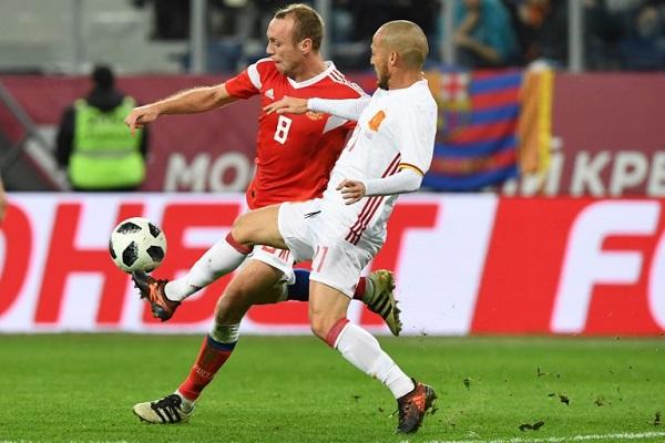روسيا تفرض التعادل على إسبانيا في مباراة ودية
