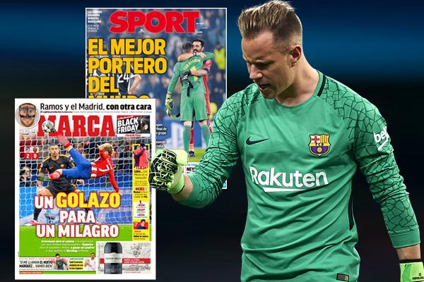 اتفقت الصحافة الإسبانية على تنصيب الألماني مارك-أندريه تير شتيغن حارس نادي برشلونة على انه الأفضل في العالم حالياً