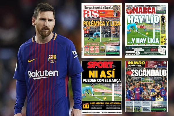 تسبب الهدف الذي سجله النجم الأرجنتيني ليونيل ميسي وتم إلغاؤه في تصدره الصفحات الأولى لوسائل الإعلام الإسبانية