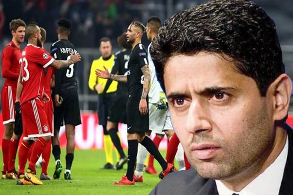 انتقد القطري ناصر الخليفي رئيس ومالك نادي باريس سان جيرمان الأداء المخيب الذي قدمه فريقه أمام مضيفه نادي بايرن ميونيخ الألماني
