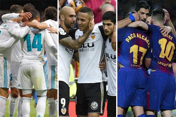 تشهد المرحلة الخامسة عشرة من الدوري الاسباني مواجهات قوية جدا للثلاثي برشلونة المتصدر وفالنسيا الثاني وريال مدريد الرابع