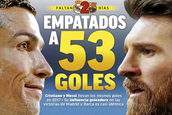 ميسي و رونالدو حققا حصيلة تهديفية بلغت 53 هدفاً لكل منهما مع ناديهما ومنتخب بلادهما في شتى الاستحقاقات الرسمية