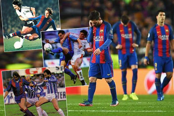 اعتاد برشلونة خلال مشواره القاري على العودة من بعيد أمام جماهيره التي كانت شاهدة على خمسة إنجازات كبيرة في تاريخ النادي