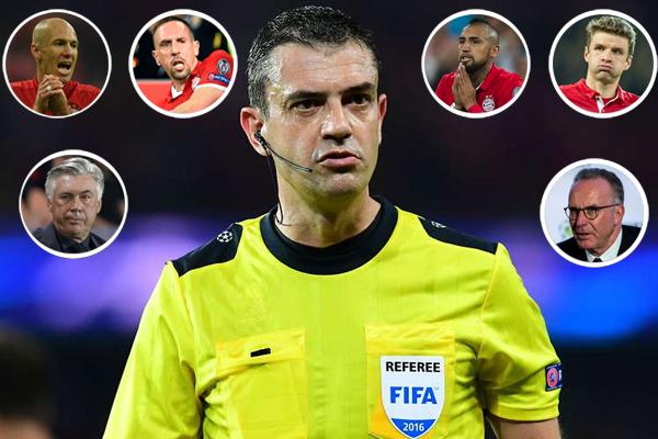 أثارت قرارات المجري فيكتور كاساي حكم مباراة ريال مدريد الاسباني وبايرن ميونيخ الألماني عاصفة تصريحات منتقدة