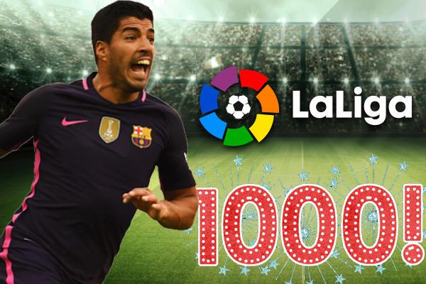 رفع الأوروغوياني لويس سواريز مهاجم نادي برشلونة السقف التهديفي إلى 1000 هدف في بطولة الدوري الإسباني