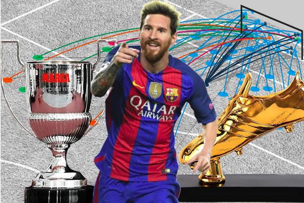 عوض المهاجم الأرجنتيني ليونيل ميسي إخفاق فريقه برشلونة باستعادته لجائزتي