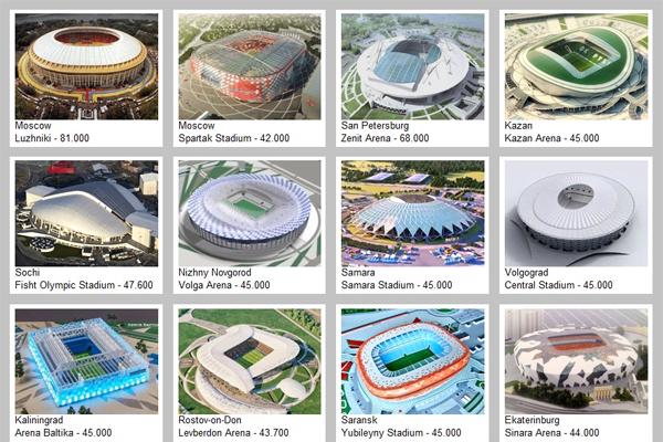 تستضيف روسيا كأس العالم لكرة القدم 2018 على 12 ملعبا موزعة على 11 مدينة، ستقام على أربعة منها أيضا كأس القارات 2017