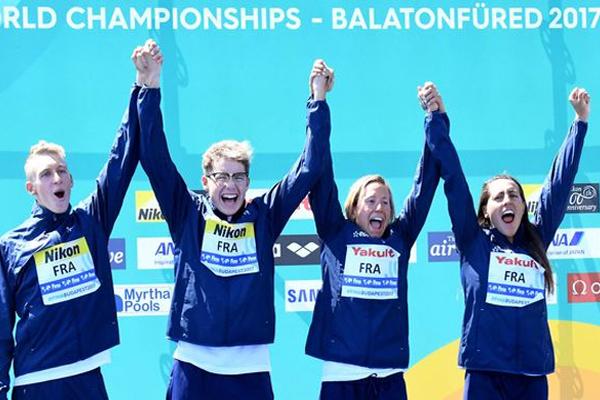 حققت فرنسا في البطولة الحالية افضل نتائج لها في سباقات المياه المفتوحة اذ رفعت رصيدها فيها الى ثلاث ذهبيات