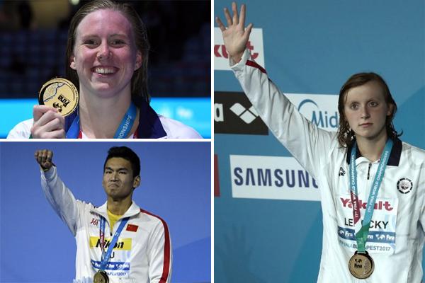 دخلت السباحة الأميركية الشابة كايتي ليديكي التاريخ مجددا في اليوم الثالث من منافسات السباحة