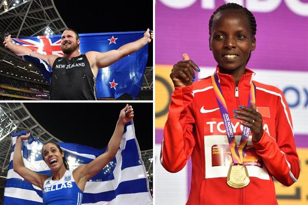 منحت العداءة البحرينية روز شيليمو العرب اول ميدالية ذهبية في مونديال القوى ، فيما هيمن النيوزيلندي توماس والش على رمي الكرة الحديد