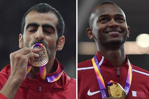 أحرز القطري معتز برشم ذهبيته الاولى مسابقة الوثب العالي في بطولة العالم لالعاب القوى فيما نال السوري مجد الدين غزال البرونزية