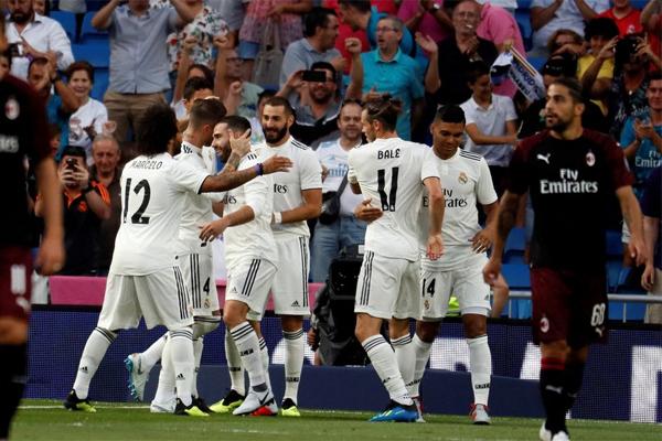 ريال مدريد هزم ميلان بثلاثية