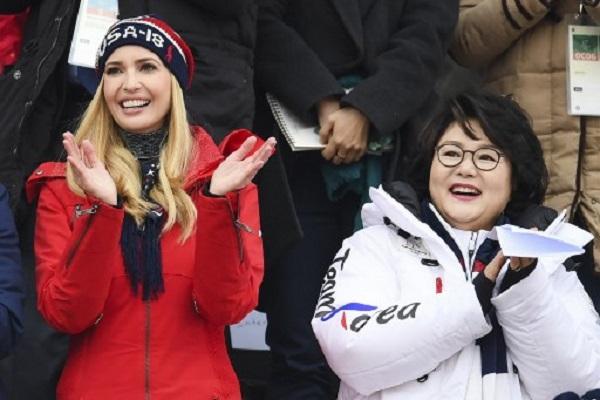 ايفانكا ابنة الرئيس الاميركي دونالد ترامب الاحد في الحفل الختامي للالعاب الاولمبية