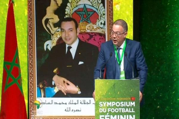 فوزي لقجع رئيس الجامعة الملكية المغربية لكرة القدم خلال افتتاح المناظرة الأفريقية لكرة القدم النسوية بمراكش