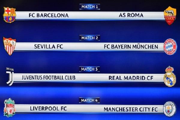 نتائج قرعة ربع نهائي دوري ابطال اوروبا لكرة القدم