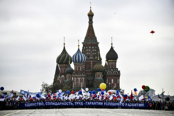الساحة الحمراء في موسكو خلال تظاهرة عمالية في الأول من أيار/مايو 2018.