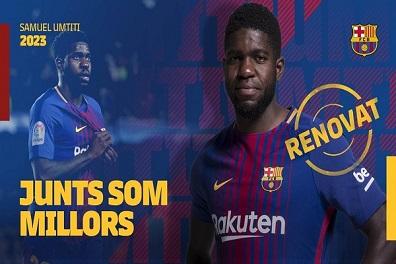 برشلونة يمدد عقد أومتيتي حتى 2023