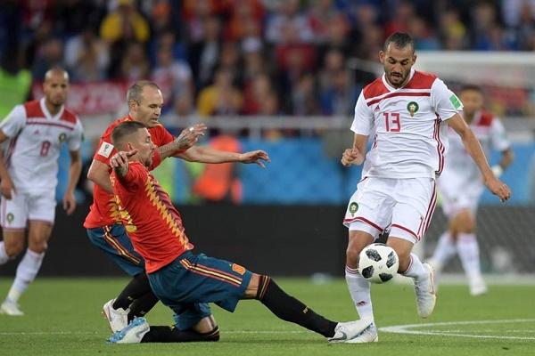 من لقاء المغرب وإسبانيا في كأس العالم