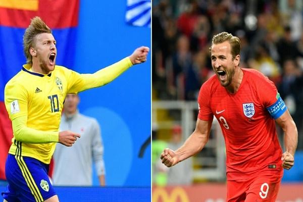 صورة مركبة لقائد المنتخب الانكليزي هاري كاين (الى اليمين) واللاعب السويدي إميل فورسبرغ