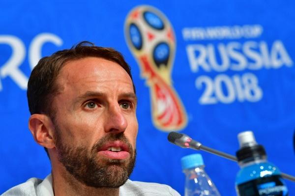 مدرب المنتخب الانكليزي لكرة القدم غاريث ساوثغيت خلال مؤتمر صحافي، في 13 تموز/يوليو 2018.