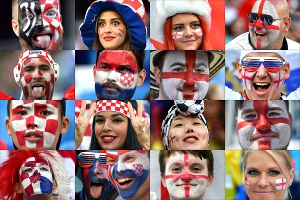 صورة مركبة لمشجعين للمنتخبين الانكليزي والكرواتي على هامش كأس العالم في روسيا.
