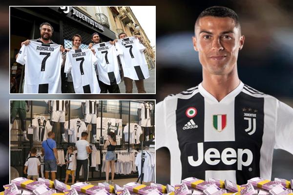 يوفنتوس يبيع قميصين يحملان اسم رونالدو ورقم 7 خلال كل دقيقة منذ بداية ظهور القميص في متاجر النادي الرسمية