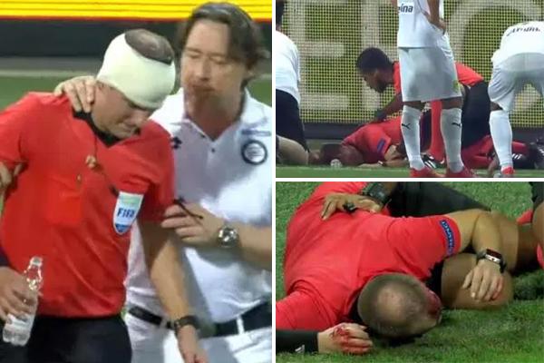 أصيب الحكم السويدي فريدريك كلايفر بعبوة مياه كبيرة في الدقيقة 78 من المباراة وسالت الدماء من رأسه