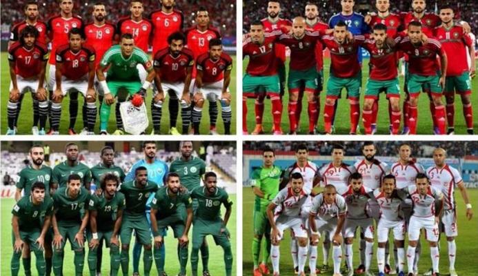 من مباراة مصر والسعودية في مونديال روسيا