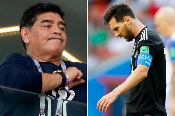 الأسطورة الأرجنتينية دييغو مارادونا حاول الدفاع عن مواطنه ليونيل ميسي