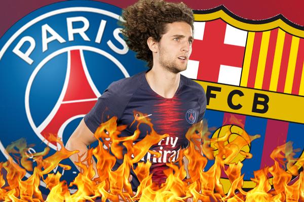 تحول لاعب الوسط الفرنسي ادريان رابيو إلى وقود للحرب الدائرة بين ناديي برشلونة الإسباني و باريس سان جيرمان الفرنسي