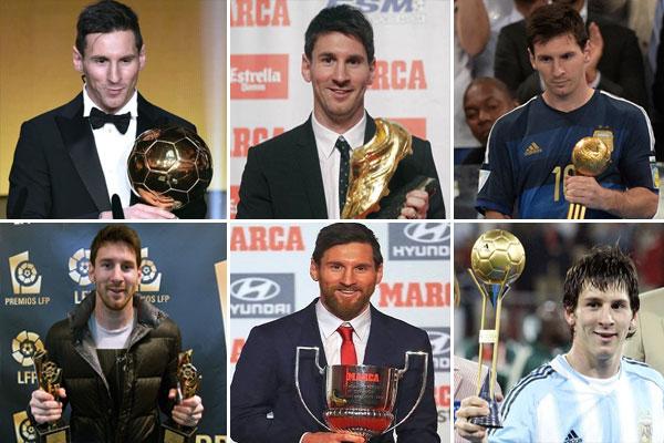 عدد الجوائز الفردية التي نالها ميسي مع نادي برشلونة ومنتخب الأرجنتين قد بلغ 160 جائزة