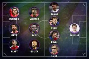 سيطر نجوم قطبيالكرة الإسبانية ناديي برشلونة و ريال مدريد على التشكيلة المثالية التاريخية لمسابقة دوري أبطال أوروبا