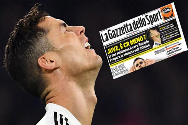 لم يسجل رونالدو أي هدف في مباريات يوفنتوس الثلاثالأخيرة