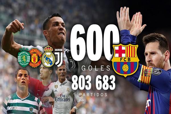 التحق ليونيل ميسي بغريمه كريستيانو رونالدو في إحراز 600 هدف