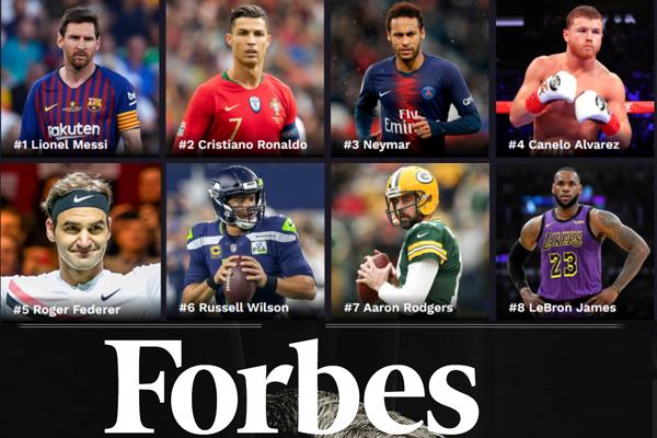 تصدر الأرجنتيني ليونيل ميسي مهاجم نادي برشلونة الإسباني ترتيب الرياضيين الأعلى دخلاً في العالم