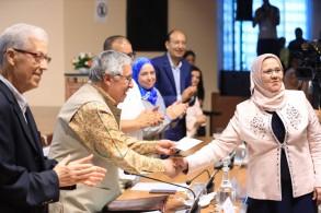 جانب من حفل تكريم أهالي مدينة اصيلة في ختام فعاليات موسمها الثقافي ال 41